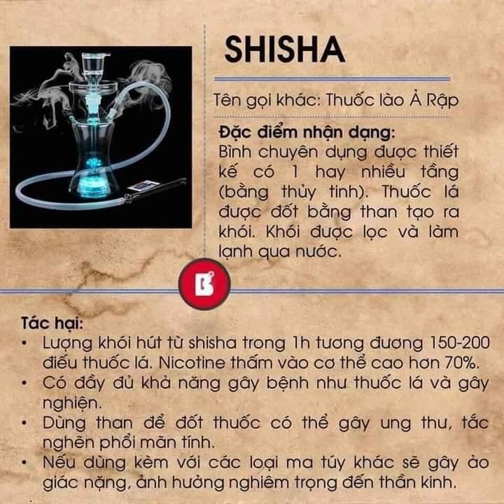 Shisha - 1 trong các chất gây kích thích hệ thần kinh